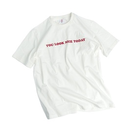 [유룩나이스투데이] YOU LOOK NICE TODAY_ 로고 코튼 티셔츠 화이트 Logo Cotton T-Shirts (Loose fit)  Off White (RESTOCK)
