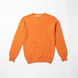 [할리오브스코틀랜드] HARLEY OF SCOTLAND_ 셰기 독 크루넥 스웨터 Shaggy Dog Crew Neck Sweater - Orange Peel