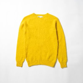 [할리오브스코틀랜드] HARLEY OF SCOTLAND_ 셰기 독 크루넥 스웨터 Shaggy Dog Crew Neck Sweater - gorse flower