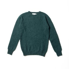 [할리오브스코틀랜드] HARLEY OF SCOTLAND_ 셰기 독 크루넥 스웨터 Shaggy Dog Crew Neck Sweater - Forest Sheen