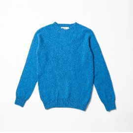 [할리오브스코틀랜드] HARLEY OF SCOTLAND_ 셰기 독 크루넥 스웨터 Shaggy Dog Crew Neck Sweater - new bright blue