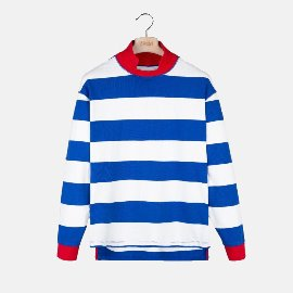 [드레익스] Drake's_ Blue and White Stripe Mock Collar Long-Sleeve T-Shirt