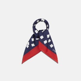 [드레익스] Drake's_Navy, White and Red Tumbling Square Print Cotton-Silk Bandana