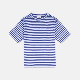 [드레익스] Drake's_linen Crew Neck T-Shirt, Blue & White Stripe