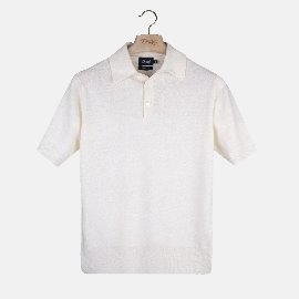 [드레익스] Drake's_Ecru Linen-Cotton Knitted Polo Shirt